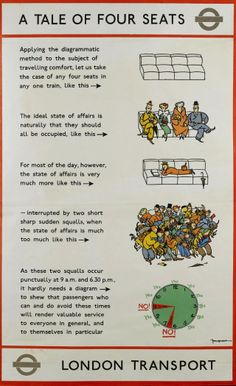 Fougasse (Cyril Kenneth Bird) Uses a Tale of Four Seats to explain how to schedule your trip on the Underground - printed by Waterlow and Sons Ltd, for London Underground, 1005 x London Underground, Vintage London, Old London, 1920s Ads, London Transport Museum, British Travel, Railway Posters, Train Posters, Corporate Identity Design