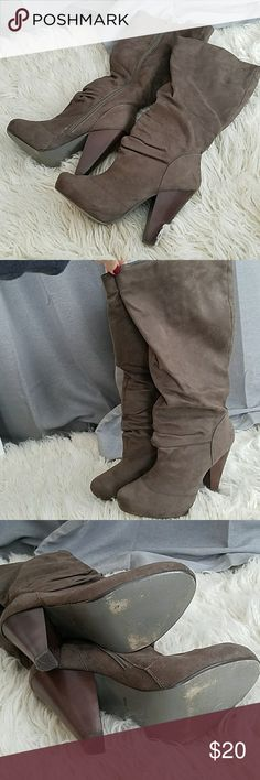 Bamboo Brown Suede Heeled Boots Bamboo wooden heeles boots, soft brown suede material, worn 1-2 times BAMBOO Shoes Heeled Boots