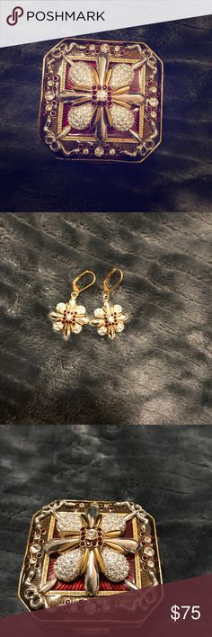 Joan rivers keepsake box/earrings/brooch(pin) Joan rivers red, gold and silver with crystals keepsake box, super cute flower shaped earrings, and a flower shaped brooch(pin). The pin attaches magnetically to the top of the box. Never used!!! Authentic! joan rivers Jewelry