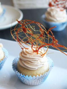 Vanilla Cupcakes with Salted Caramel Filling & Salted Caramel Frosting - I love caramelized sugar toppers.