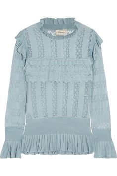 Dusty-blue pointelle-knit  Slips on 100% rayon Dry clean Designer color: Fern Imported