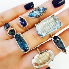 Suzanne Kalan-Blue Is the New Black Jewelry Accessories, Jewelry Design, Women Jewelry, Suzanne Kalan, Mourning Jewelry, Pomellato, Moonstone Ring, Rock Candy, Ring Earrings
