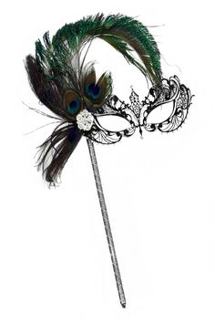 Corrine Laser-Cut Black Venetian Women's Masquerade Mask on a Stick w/Peacock