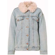 Alexander Wang Women's Shearling Lamb Oversized Denim Jacket (58 275 UAH) ❤ liked on Polyvore featuring outerwear, jackets, denim, long sleeve jacket, shearling denim jacket, jean jacket, pink denim jacket and pink jean jacket