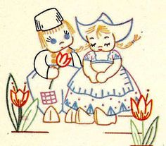 Antique Hand Towels | Vintage Hand Embroidery pattern 7147 Dutch Tots for Towels Runners ...