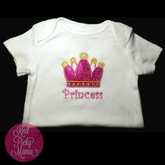Every princess needs some sparkle!! This 6-12 month bodysuit is accented with a Pink Sparkle crown with Gold sparkle added to the top! Great for everyday wear or for that special occasion!