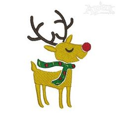Christmas Reindeer with Green Scarf Embroidery Designs