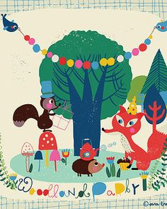 Kindred Art Collective | Sara Brezzi #Art #Illustration #Kids #Party #Forest #Woodland #Fox #Tea #Kindred