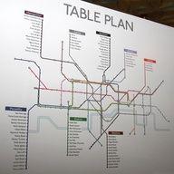 Underground style wedding table plan.