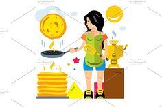 Woman bakes pancakes by Steinar Logo on @creativemarket