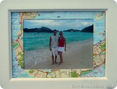 Framed map photo; great idea for a scrapbook page too.