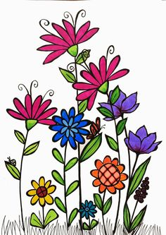 Easy Flower Jar Acrylic Painting Tutorial For Beginners Step By Step Doodle Drawings, Doodle Art, Easy Drawings, Zen Doodle, Fabric Painting, Painting & Drawing, Watercolor Cards, Watercolor Paintings, Flower Doodles