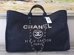 Chanel Deauville Tote Weekender Boy Classic Denim Travel Bag.