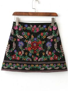 Shop Black Floral Embroidery Mini Skirt online. SheIn offers Black Floral Embroidery Mini Skirt & more to fit your fashionable needs.