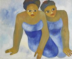 Maria Kizito Kasule - Two Young Girls, oil on canvas