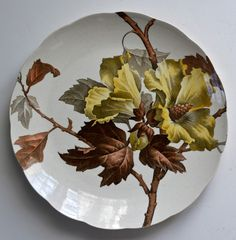 Antique Victorian transferware plate in the Aesthetic style featuring a Hibiscus by TC Brown-Westhead, Moore & Co