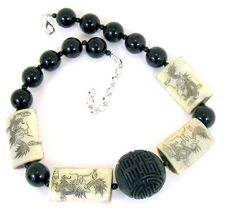 Black a Ivory Cinabar and Etched Bone  Choker Necklace  Statement Handcrafted  Jewelry (1681)