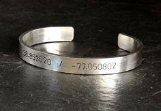 Latitude and longitude massive sterling silver cuff bracelet, NiciArt