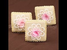 Fantasy Rose Cookie and Royal Icing Lace Tutorial Youtube Cake Decorating, Cake Decorating Techniques, Cookie Decorating, Cupcakes Decorating, Decorating Ideas, Rose Cookies, Flower Cookies, Cupcake Cookies, Sugar Cookies
