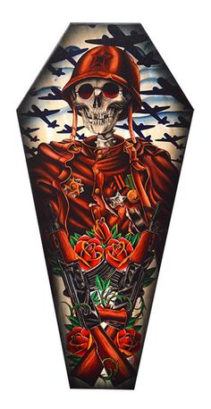 Coffin Shaped Stretch Canvas Artwork - Features 'Motherland' - Artwork by 2 Cents - Measures: 3 Feet Tall - By: Lowbrow/Black Market Art Company