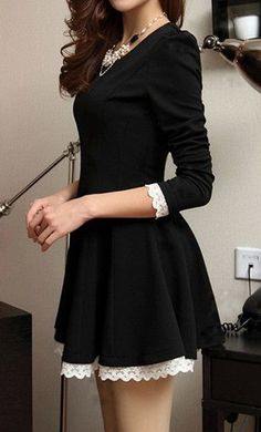 Lace trim black dress