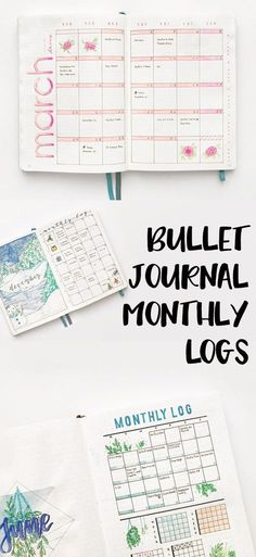 Different Types of Bullet Journal Monthly Logs - Productive & Pretty Bullet Journal Disney, Bullet Journal Harry Potter, Bullet Journal Banners, March Bullet Journal, Bullet Journal Monthly Spread, Bullet Journal Printables, Bullet Journal How To Start A, Bullet Journal Inspo, Bullet Journal Layout