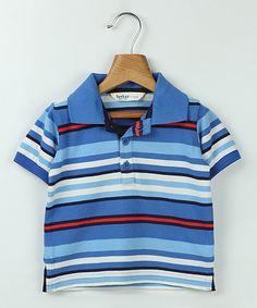 Blue & White Stripe Polo - Infant Toddler & Boys
