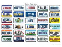 Printable License Plate Game #travel #kids #roadtrip