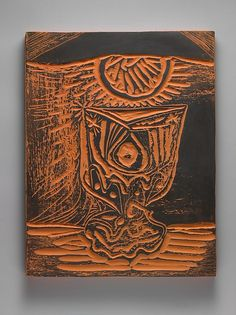A Glass by Lamplight  Artist:Pablo Picasso (Spanish, Malaga 1881–1973 Mougins, France) Date:1964 Medium:Terracotta with black slip Dimensions:12 3/4 x 10 x 7/8 in. (32.4 x 25.4 x 2.2 cm) Classification:Ceramics-Pottery