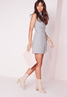 f4f96e511a Missguided - High Neck Tie Waist Shift Dress Grey