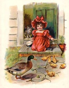 Duck Girl Feeds Duckling Cat Antique Color Print | eBay