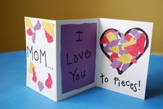 cute Mothers Day Craft - (tearing pieces of paper or cutting. Gluing. Color identification)