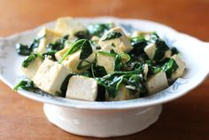 Stir fry with spinach and tofu