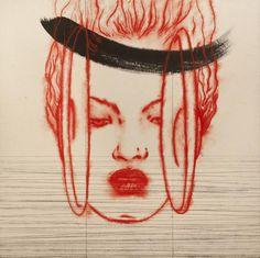 Omar Galliani Tra oriente e occidente, 2006 pigmento e inchiostro su carta cinese, cm 200x200. Opere realizzata in collaborazione con Pan Luscheng