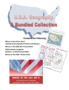 This collection provides a complete review of the United States. It provides practice for the states using latitude and longitude for locating them.  The collection includes a power point, two games that can also double as task cards, and a series of worksheets that provide practice and quizzes.  The preview is a combination of the previews for the four products included in the bundle.  There is a saving of $2.00 purchasing this way.