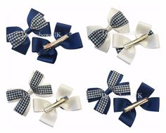 Pair of Korker Gingham Hair Clip School Hair Bow Clips Sets Green /& White