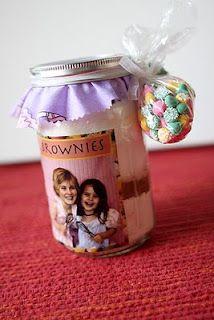 Birthday Party Favor Brownies in a Jar