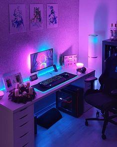 Gaming Desk Setup, Best Gaming Setup, Computer Setup, Pc Setup, Cool Gaming Setups, Cheap Gaming Setup, Computer Desks, Led Decoration, Neon Led