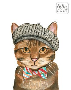 Cat Watercolor Print Pageboy Cat English by DarlingLolaDesigns