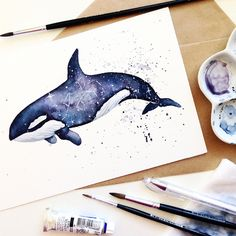 Watercolor Whale, Watercolor Artwork, Watercolor Illustration, Animal Paintings, Animal Drawings, Orca Art, Orca Tattoo, Zentangle, Watercolor Painting Techniques