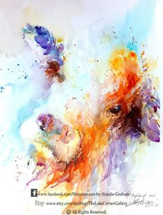 Natalie Graham - Highland cow watercolour painting - Artists & Illustrators - Original art for sale direct from the artist Watercolor Paintings Of Animals, Farm Paintings, Watercolor Paintings For Beginners, Animal Paintings, Watercolour Painting, Watercolours, Watercolor Canvas, Highland Cow Painting, Cow Canvas