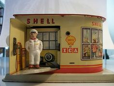 Old Tin German MS Shell Service Station Bank Made in Germany Toy