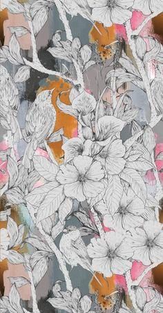Martin McBride Edinburgh wallpaper paper 52 cm width, 60 cm repeat Hand drawn, digitally printed wallpaper design Edinburgh College of Art BA (Hons)/MA Textiles