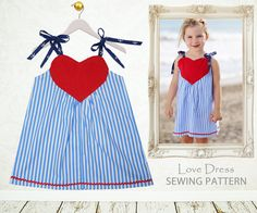 Valentines Day Dress, The LOVE Dress girls sewing pattern PDF, Digital Instant Download, Childrens sewing pattern