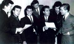 From left to right - Jimmy Clanton (Venus In Blue Jeans), Dion (Runaround Sue, The Wanderer and lots of others), Chris Montez (Call Me, Lets Dance), Gene Pitney (Man Who Shot Liberty Valance, Town Without Pity and many others), Dick Clark, Mark Valentino (song writer and singer), and Brian Hyland (Itsy Bitsy Tiny Weenie Yellow Polka Dot Bikini, Sealed With a Kiss)