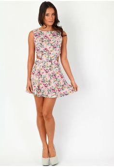 Shaeni Floral Cut Out Dress - dresses - missguided