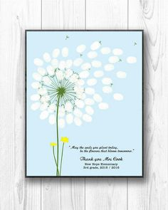 This classroom fingerprint dandelion design is a perfect gift to give to a very special teacher. Each child in the class stamps their finger print and their name is written around the leaf. This printable fingerprint teachers appreciation gift celebrates your childs teacher and