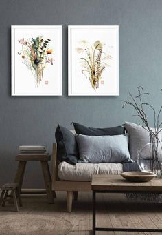 Wall Art Print Poster Flowers Herbs Watercolor Painting Original Plants Modern Home Decor Contemporary Fl Drawing