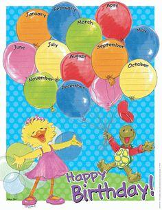 Suzy Zoo Birthday Calendar Chart