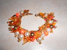 OOAK Autumn Leaves and Pearls Charm Bracelet by TrendyCharm, $19.99